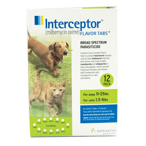Interceptor Dogs 11-25 lbs (Green) 6 Chews